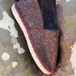 Espadrilles chaussons laine de brebis fil rouge