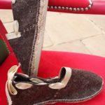 Espadrilles chaussons laine de brebis ruban doré