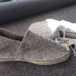 Espadrilles chaussons laine de brebis chinée fil naturel