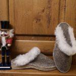 Espadrilles chaussons mule laine de brebis chinée décor crème